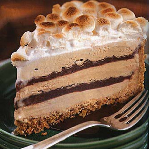 mores Coffee and Fudge Ice Cream Cake