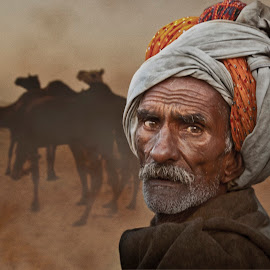 Man in Desert by Steven Hu - People Portraits of Men ( desert, camels, indian, old man,  )