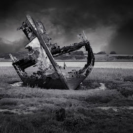 Fleetwood Wreck by James Johnstone - Black & White Landscapes ( fleetwood, wreck, black & white )