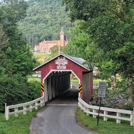 Covered Bridge and Church by Bob Alianiello - Buildings & Architecture Bridges & Suspended Structures