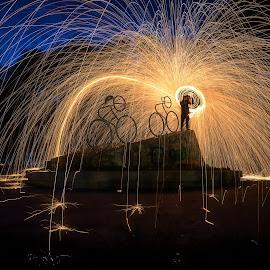 Steel Wool by Ah Wei (Lung Wei) - City,  Street & Park  Night ( samyang, fisheye, seashore, sunrises, george town, penang bridge, penang island, malaysia, beach, frontground, seascape, landscape, samyang 12mm f2.8, samyang 12mm f/2.8 ed as ncs fisheye, george town penang, pulau pinang, nature, steel wool, penang, sunrise, light )