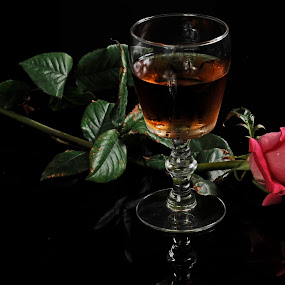 Wine and Rose by Cristobal Garciaferro Rubio - Food & Drink Alcohol & Drinks ( cup, rose, wine cup, pink, leaf, pink rose, leaves )