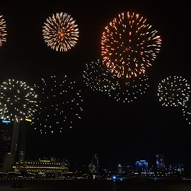 Pre-NDP Fireworks by Chin KK - City,  Street & Park  Skylines ( rehearsal, ndp2015, fireworks, evening, marinabay )