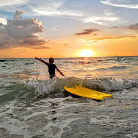 Playing in the surf at Sunset  by Jeffrey Lee - Landscapes Sunsets & Sunrises ( playing in the surf at sunset )