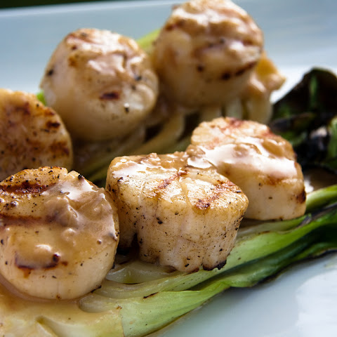 Grilled Scallops with Baby Bok Choy and Soy-Ginger Beurre Blanc