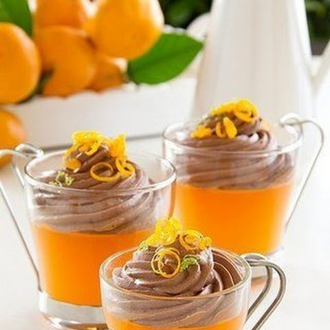 TANGERINE JELLY WITH CHOCOLATE MOUSSE.
