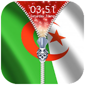 Algeria Flag Zipper Lock Screen APK for Bluestacks