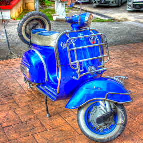 Vespa Colop by Fazrul Mustaqim - Transportation Motorcycles ( motorcycles, old, bike, hdr, metal, blue, vespa, tyres, retro, 90s, road, antique )