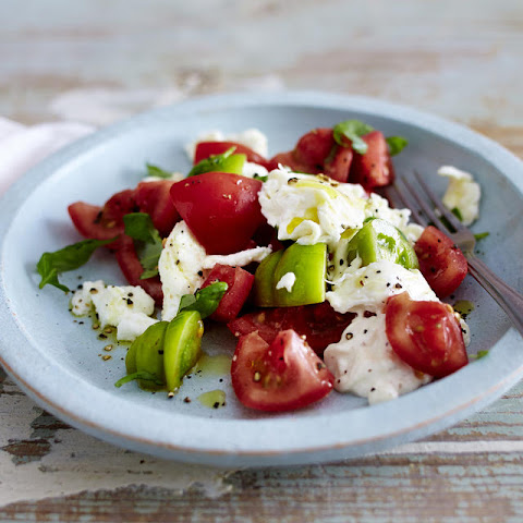 Tomato with Mozzarella, Burrata, Basil and Olive Oil
