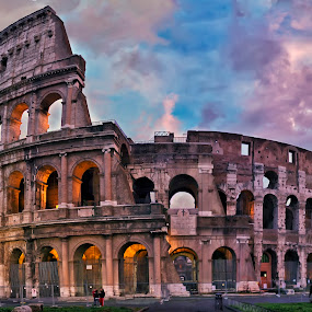 Colosseum at twilight by Daniel Schwabe - Travel Locations Landmarks ( pastel, colosseum, blue, rome, sunset, twilight, ruins, pink, roman, italy, panorama )