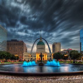 Keiner Plaza, St Louis by Jon Dickson - City,  Street & Park  Fountains ( stormy, old courthouse st louis, hdr, st louis arch, storm clouds st louis )