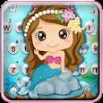 Cartoon Mermaid Pearls Keyboard Theme