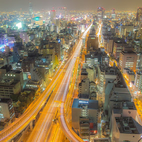 Highway to heaven by Ryusuke Komori - City,  Street & Park  Skylines ( skyline, building, japan, osaka, night )