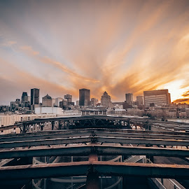 Sunset views by Philippe Nguyen - Buildings & Architecture Other Exteriors ( montreal, cityscape, architecture, landscape, lights, tungsten, city view, city lights, city street, downtown, clouds, cityscapes, orange, justgoshoot, building, canada, hdr, city streets, art, city life, québec, fm2mag, quebec, red, sunset )