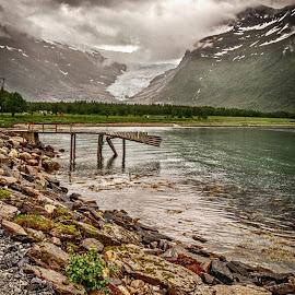 At the Foot of the Glacier by Richard Michael Lingo - City,  Street & Park  Vistas ( peer, norway, vista, glacier, park )