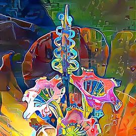 Glass flowers by Amber O'Hara - Digital Art Things ( digital  pink flowers blown glass )