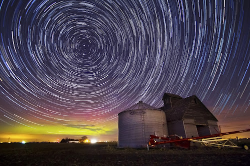 Auroras Over Agriculture by Evan Ludes - Landscapes Starscapes ( northern, lights, farm, auroras, barn, trail, aurora, star, trails, rural )