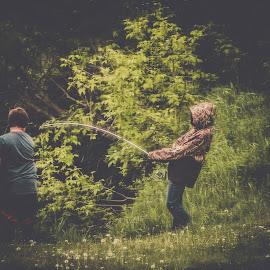 Setting the Hook by Julie Wooden - People Street & Candids ( north dakota, little knife river, hebron, children, kids, landscape, spring, nature, outdoors, boys, lions park, fishing, scenery, males. )