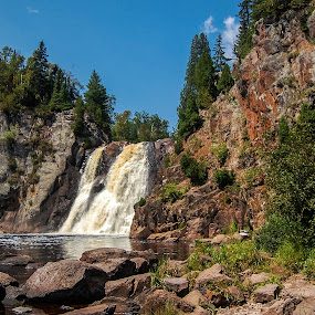 High Falls by Robert Coffey - Landscapes Waterscapes ( minnesota, stream, waterfall, trees, forest, rocks, shrubs,  )