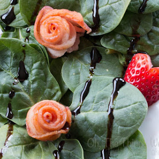 Baby Spinach with Bacon Roses and Strawberry Hearts
