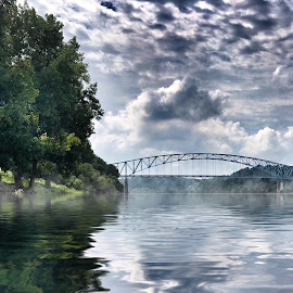 Beauty on the Ohio by Lorna Littrell - Landscapes Waterscapes ( reflection, waterscape, nature, bridge, clouds, river, landscape )