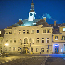 Night Rožmitál pod Třemšínem, City Hall by Monika Sedláčková - City,  Street & Park  Street Scenes ( city hall, night rožmitál pod třemšínem )