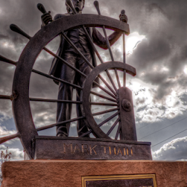 Mark Twain - Steamboat Pilot by Darin Williams - Buildings & Architecture Statues & Monuments ( hannibal, tom sawyer, mississippi river, monument, mark twain )