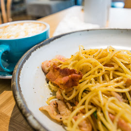 Spaghetti with Coffee by Loh Jiann - Food & Drink Plated Food ( spaghetti, relax, breakfast, food, coffee, bacon )