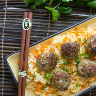 Baked Asian Turkey Meatballs & Carrot Rice