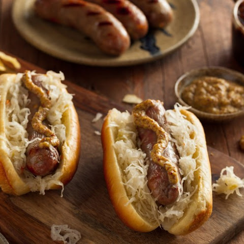 Beer Braised Brats with Sauerkraut
