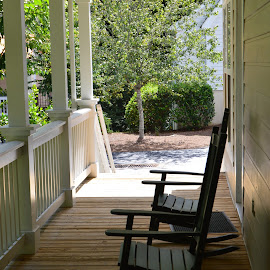 Empty Rocking Chairs by Becky Luschei - Artistic Objects Furniture ( sit, rocking, rocking chairs, chairs, waiting, empty, used, porch )