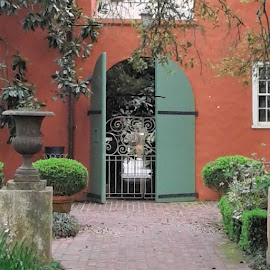 Private Courtyard by Denise DuBos - Buildings & Architecture Public & Historical ( entertain, private, gentlemen callers, courtyard, darrow, houmas house plantation, louisiana, garden setting )