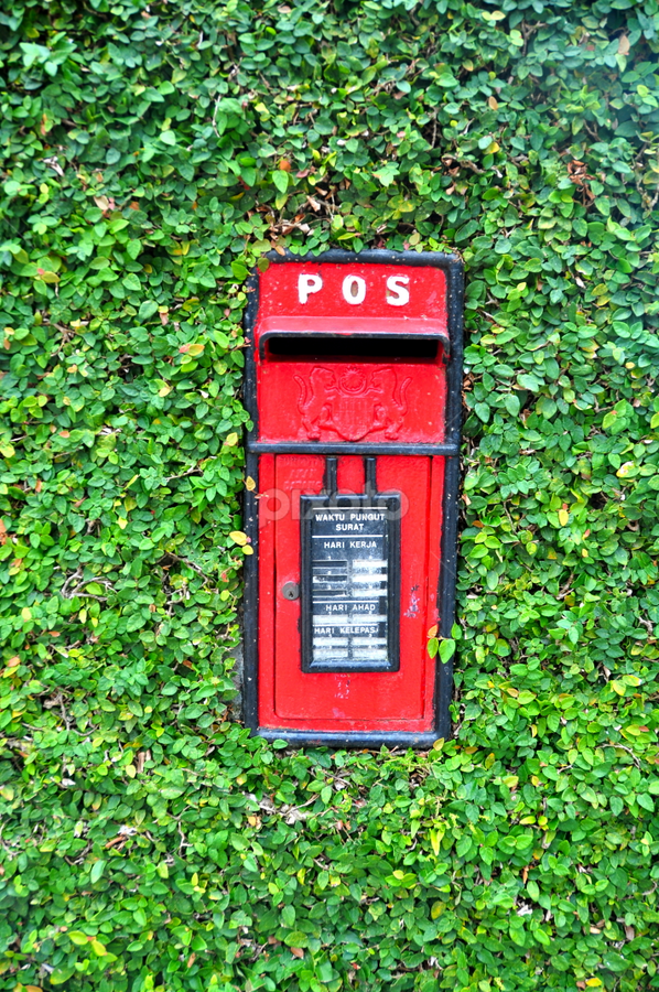 Pos box by Mishesh Ramesh - City,  Street & Park  Street Scenes ( unique, red, post, bushes, box )