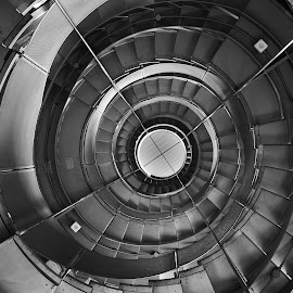 by Andrew Percival - Buildings & Architecture Architectural Detail ( abstract, leading lines, stairs, black and white, glasgow, architecture, spiral )
