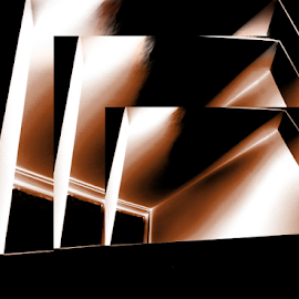 Overhang in brown by Edward Gold - Abstract Patterns ( right angles, abstract art, angles, white areas, black, brown,  )