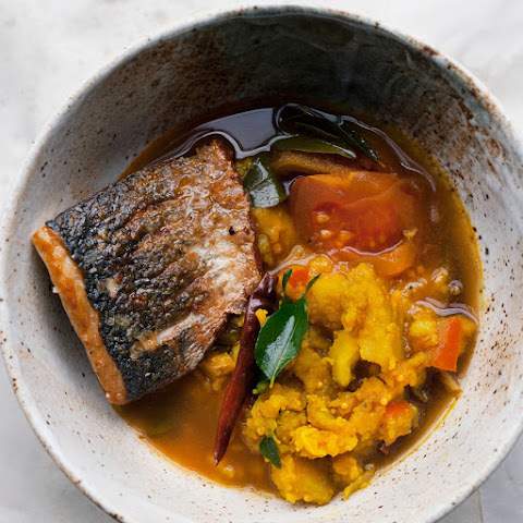 Sea Bass And Turmeric Potatoes In Rasam Broth