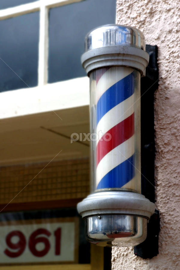 Barber Sign by Henrik Lehnerer - Products & Objects Signs ( shop, old, store, exterior, barbershop, retro, storefront, beauty, haircut, business, city, shave, americana, salon, iconic, pole, hairdresser, striped, nostalgic, trim, hair, classic, icon, symbol, vintage, cylinder, white, traditional, spiral, stripes, sign, rotating, red, blue, barber, lines, cut, styling )