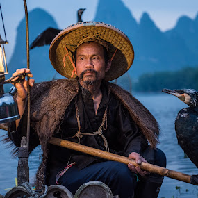 Cormorant Fisherman by Jim Harmer - People Professional People ( lantern, cormorant fisherman, guilin, china )