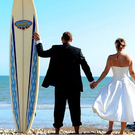 Surfing Bride & Groom by Alison Gaudion - Wedding Bride & Groom ( chichester, wedding, beach, bride, groom, surfers )