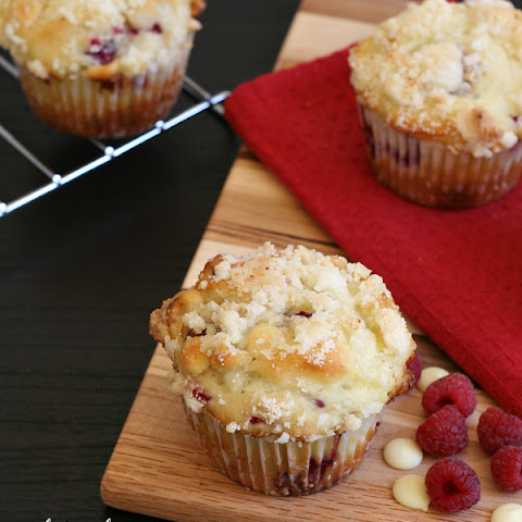 White Chocolate Raspberry Muffins with Almond Streusel Topping {Gluten-free}