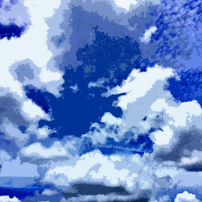 cloudes by Edward Gold - Landscapes Cloud Formations ( tree tops, building clouds, light blue sky, dark blue sky, white cloudes, greycloudes, slight poster effect,  )