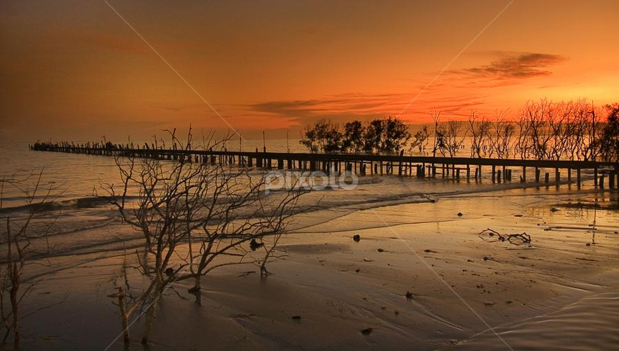 Romance @ The Beach by Steven De Siow - Landscapes Beaches ( sunset, silhouette, bridge, landscape, mangrove )