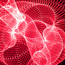 Red net by Jim Barton - Abstract Patterns ( red laser, laser light, red, colorful, light design, laser design, laser, laser light show, light, red net, science )
