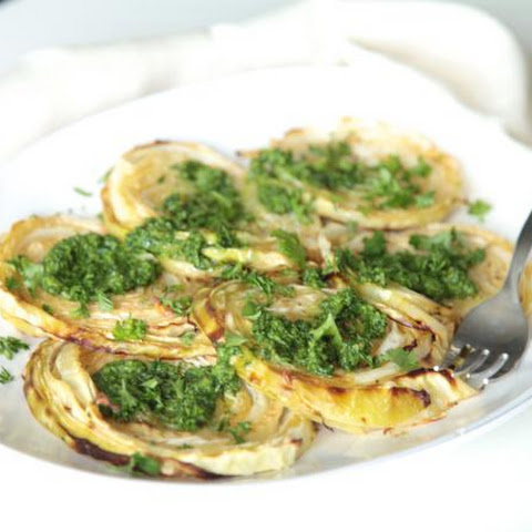 Roasted Cabbage with Pesto