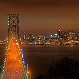 As the fog arrives by Claus Dahm - City,  Street & Park  Skylines ( skyline, california, night, bay area, bay bridge, san francisco )