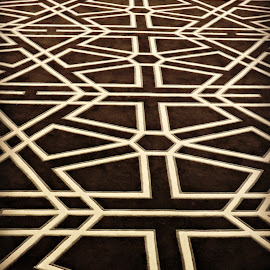 Patterned Carpet by Tamsin Carlisle - Abstract Patterns ( floor, pattern, diamonds, lines, carpet, geometric, hexagons,  )