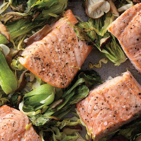 Wasabi Salmon with Bok Choy, Green Cabbage, and Shiitakes