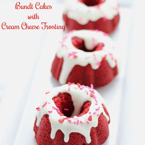 Mini Red Velvet Bundt Cakes with Cream Cheese Frosting