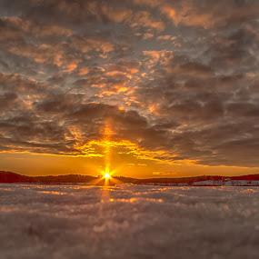 Sunet Norway by Rose-marie Karlsen - Landscapes Sunsets & Sunrises ( winter, nature, sunset, snow, landscape, sunbeam, norway,  )