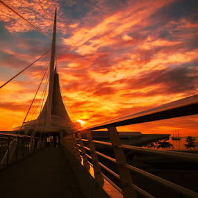 Calatrava - Milwaukee Art Museum by James Meyer - Buildings & Architecture Public & Historical ( wisconsin, discovery world, seascape, visitmilwaukee, milwaukee, amazing, art museum, denis sullivan, lake michigan, discover wisconsin, tall ship, sunset, milwaukee art museum, sunrise, mam, calatrava )